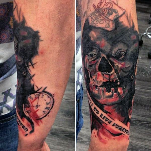 Abstract Zombie Watercolor Mens Outer Forearm Tattoos
