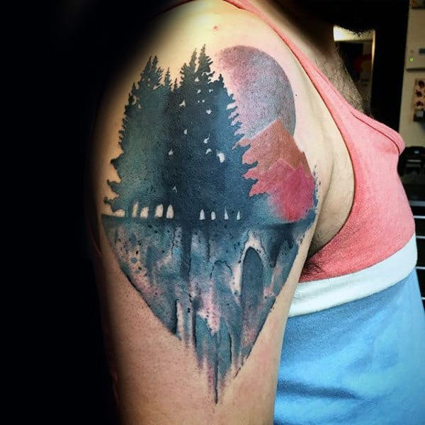 Abstrcat Artistic Tree Male Upper Arm Tattoo