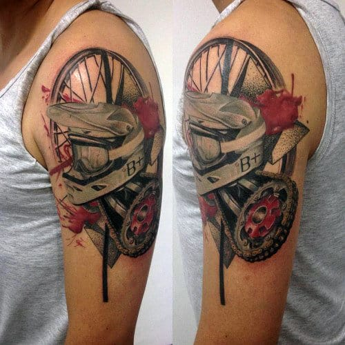 Abstrtact Motocross Themed Guys Arm Tattoo With Watercolor Design