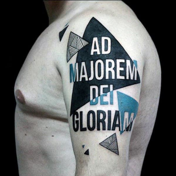 Abstrtact Triangles Male Unique Upper Arm Tattoos