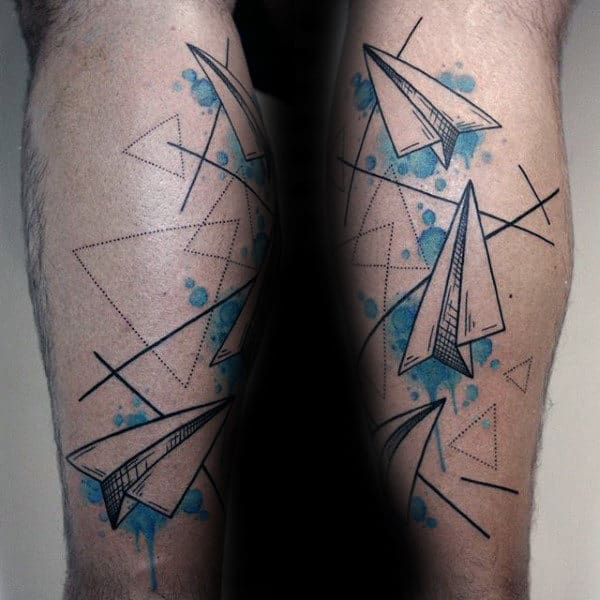 Absttract Mens Paper Airplane Tattoo With Watercolor Background