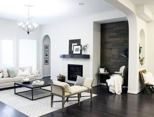 Accent Wall Wood Shiplap Stained Home Ideas For Living Room
