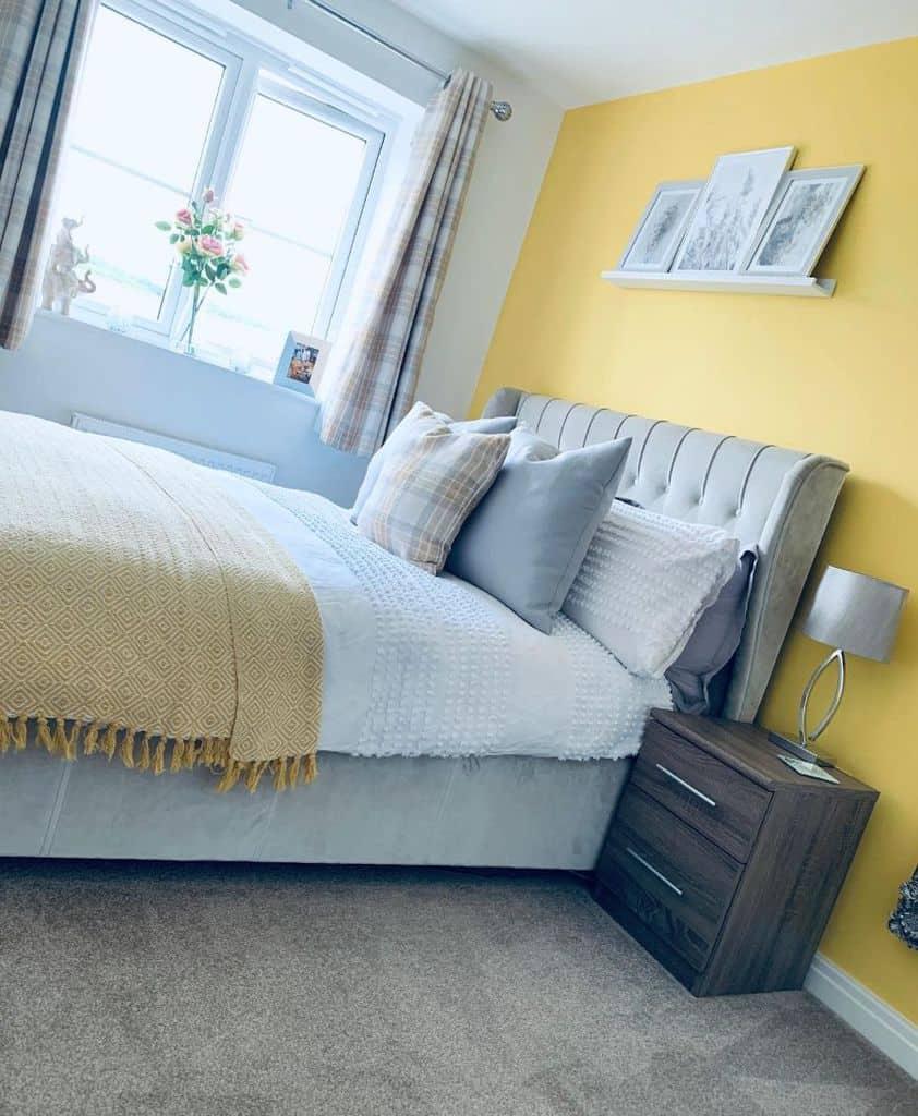 accent wall yellow bedroom ideas homebychenice