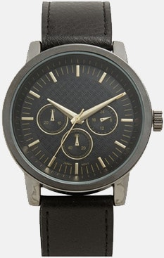 Accutime Leather Strap Watch For Men