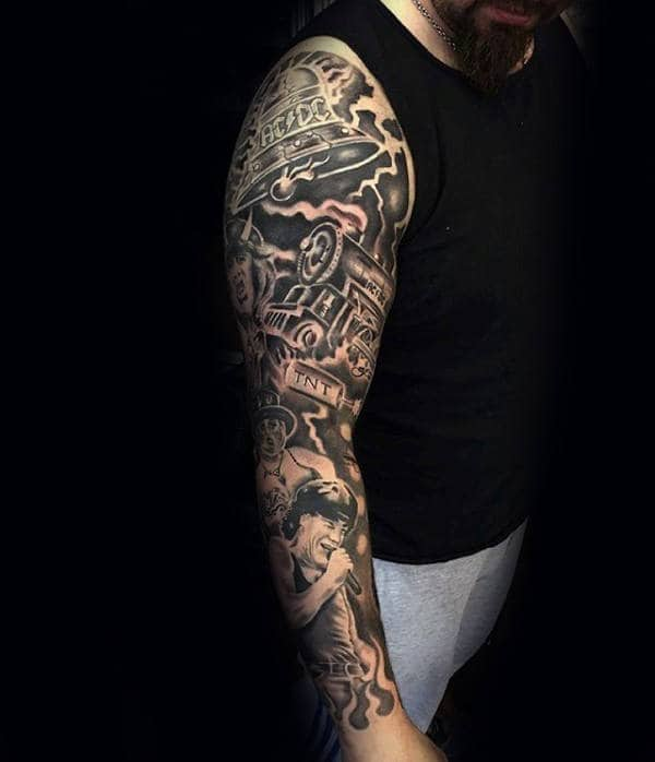 60 music sleeve tattoos for men lyrical ink design ideas. Black Bedroom Furniture Sets. Home Design Ideas