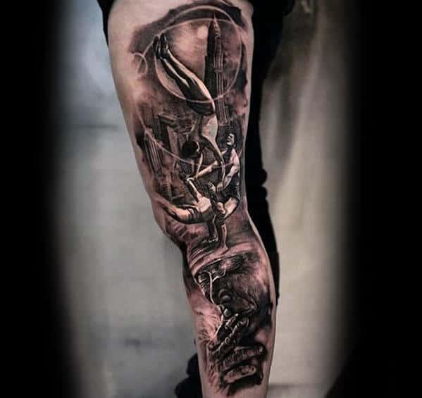 Acrobatic Mens 3d Leg Sleeve Tattoo