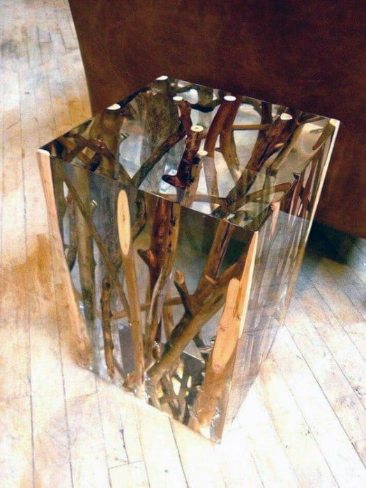 Acrylic Tree Benches Side Table Bachelor Pad Decor
