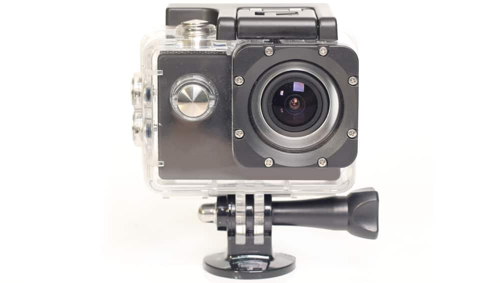 action cam with waterproof box isolated on white background