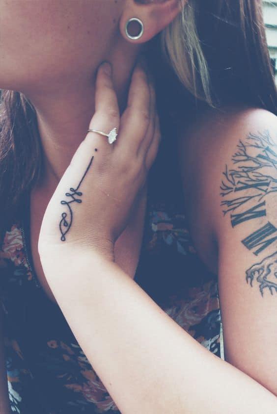 Adorable Side Hand Unalome Tattoo