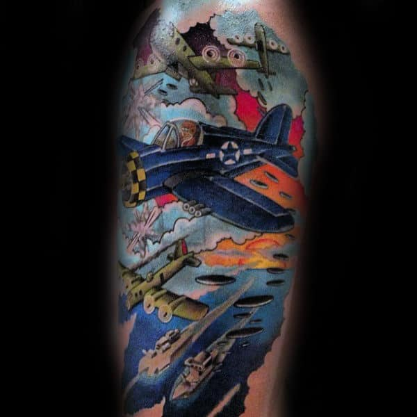 Aerial Warfare Mens Half Sleeve Tattoo Design
