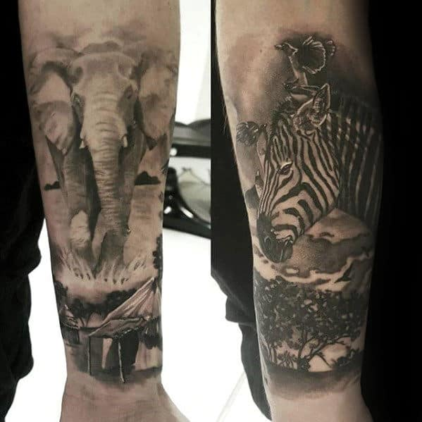 Africa Animals Guys Forearm Sleeve Shaded Tattoos