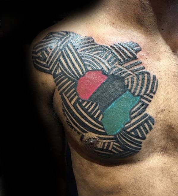 Africa Flag Mens Unique Lines Chest Tattoo Design Ideas