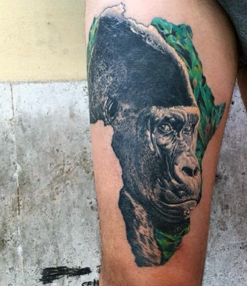 Africa Gorilla Mens Tattoo On Thigh