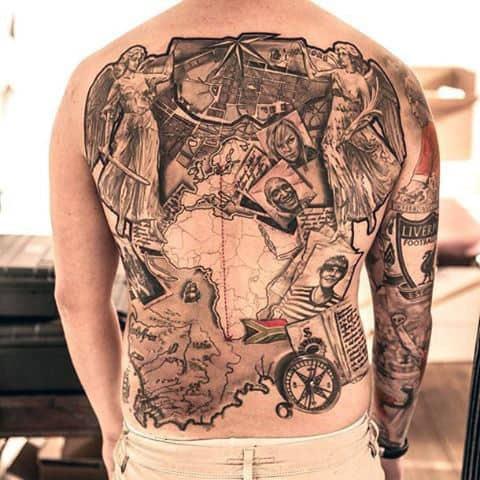 Africa Map Travel Themed Full Back Tattoos For Guys