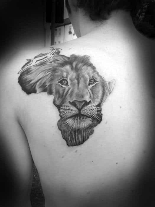 Africa Outline Guys Lion Tattoo On Back Of Shoulder