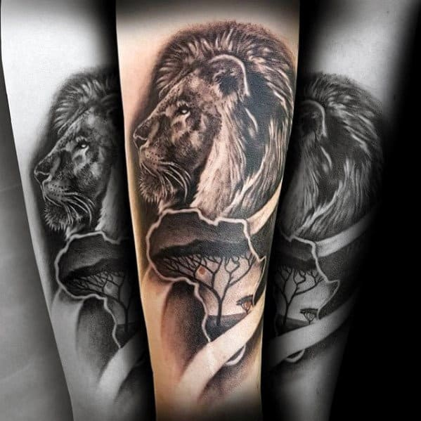 Lion Morph Tattoo: 40 Lion Forearm Tattoos For Men