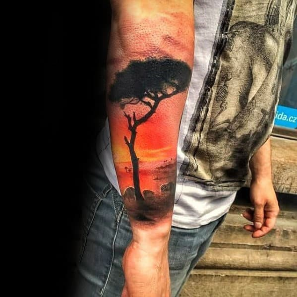 Africa Tree With Zebras And Sunset Mens Forearm Sleeve Tattoo