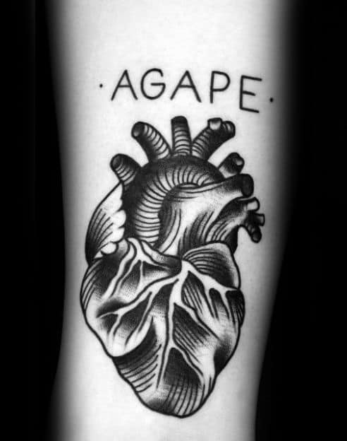 Agape Traditional Hear Mens Inner Forearm Tattoo