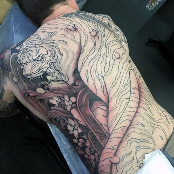 Agressive Japanese Tiger Back Tattoos For Guys