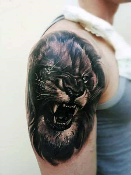 Agressive Lion Mens Realistic Shaded Upper Arm Tattoos
