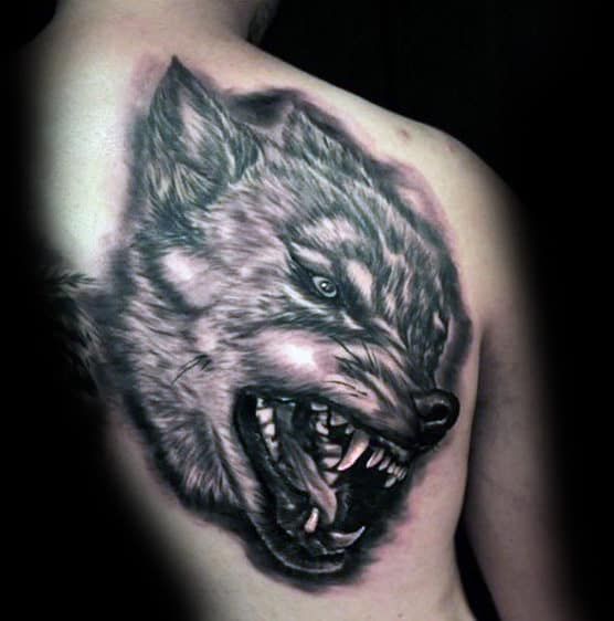 Agressive Wolf Guys Back Tattoo