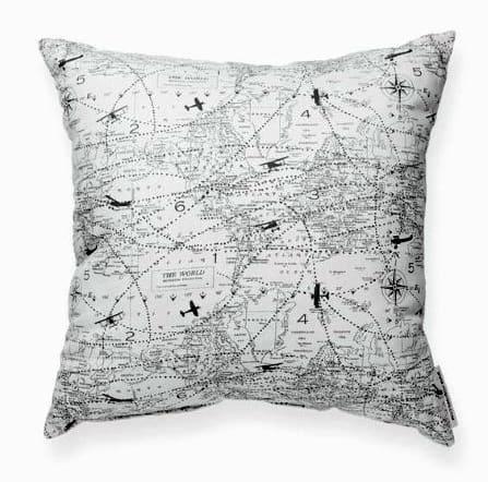 Air Plane Map Man Cave Decor Throw Pillow
