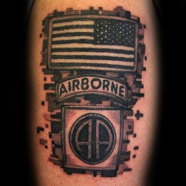 Airborne American Flag Camouflage Military Mens Tattoos