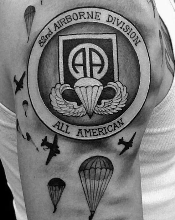 Airborne Division All American Parachute Upper Arm Tattoos For Gentlemen