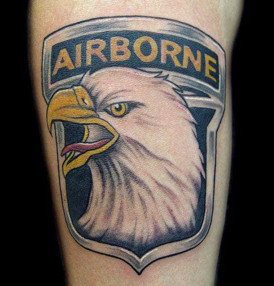 Airborne Logo Mens Arm Tattoo