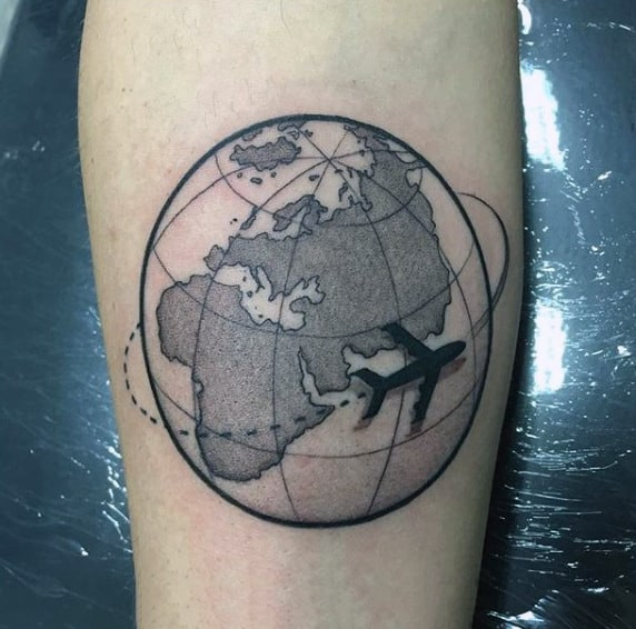Airplane Circling The World Mens Small Inner Forearm Travel Tattoos