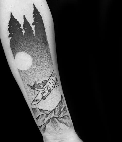 Airplane Flying Over The Mountains At Night Travel Mens Forearm And Wrist Tattoo