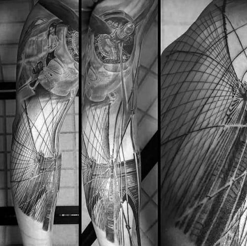 Airplane With Bridge Mens Full Arm Sleeve Tattoos