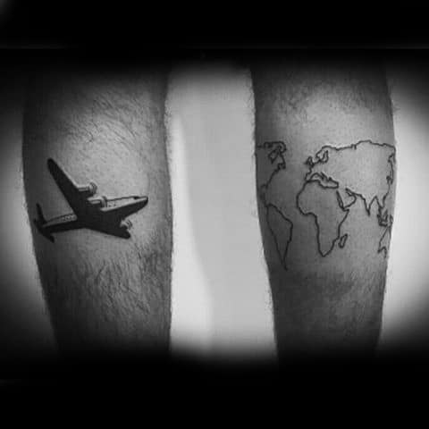 Airplane With Outline Of World Map Mens Travel Tattoos On Both Legs