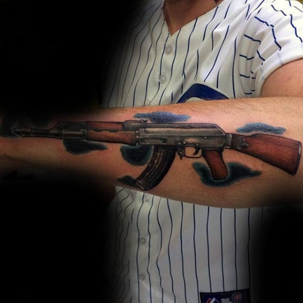 Ak 47 With Wooden Handle Tattoo Male Forearms