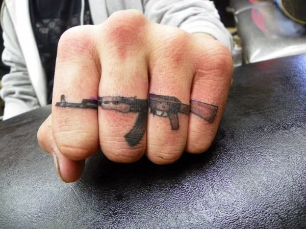 Ak47 Gun Knuckle Tattoo Design For Men