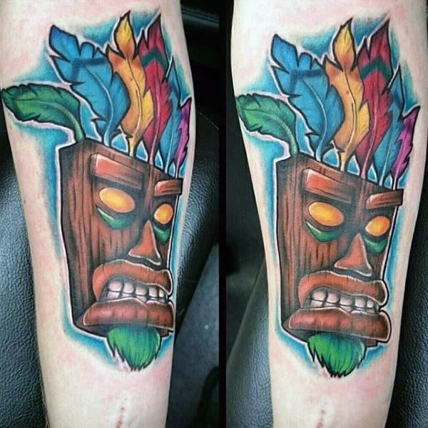 Aku Aku Mask Crashbandit Video Game Mens Wrist Tattoos