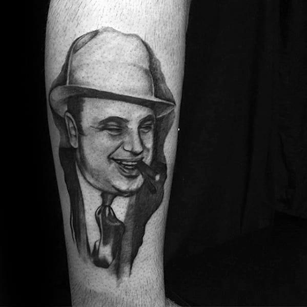 Al Capone Guys Tattoo Ideas On Leg