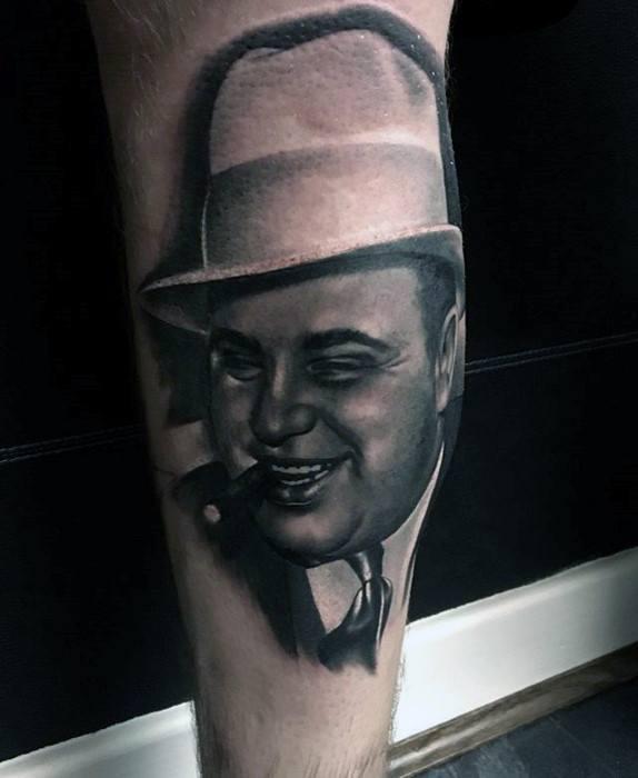 Al Capone Portrait Leg Calf Guys Tattoo Designs