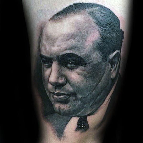 Al Capone Tattoo Design On Thigh For Men