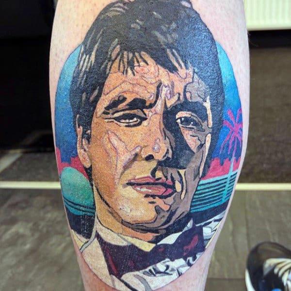 Al Pacino Mens Colorful Scarface Leg Calf Tattoo