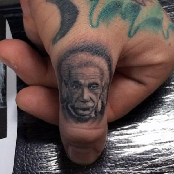 Albert Einstein Guys Thumb Tattoos
