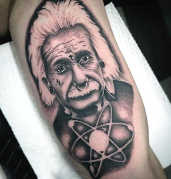 Albert Einstein Science Tattoo On Back Of Leg