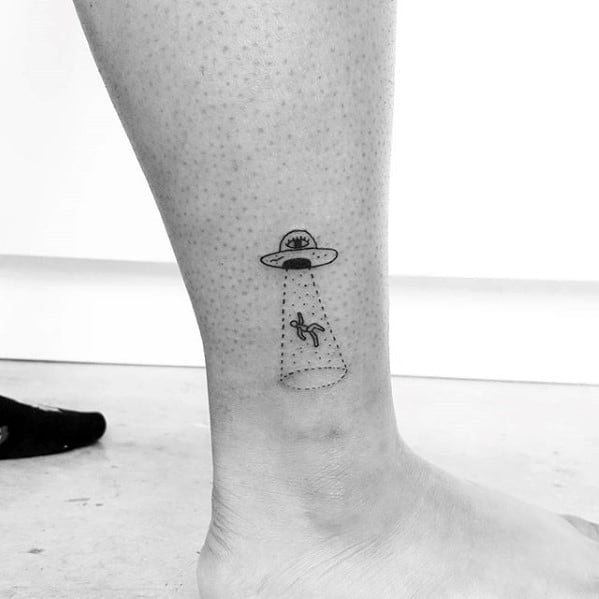 Alien Abduction Themed Simple Leg Tattoo On Gentleman