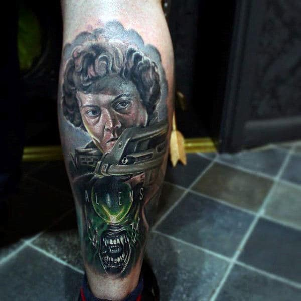 Alien Movie Themed Male Leg Tattoos