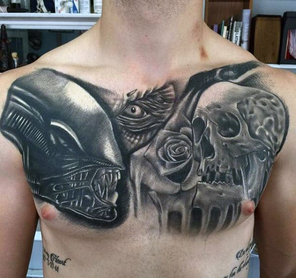Alien Skull With Rose Flower Mens Shaded Upper Chest Tattoos