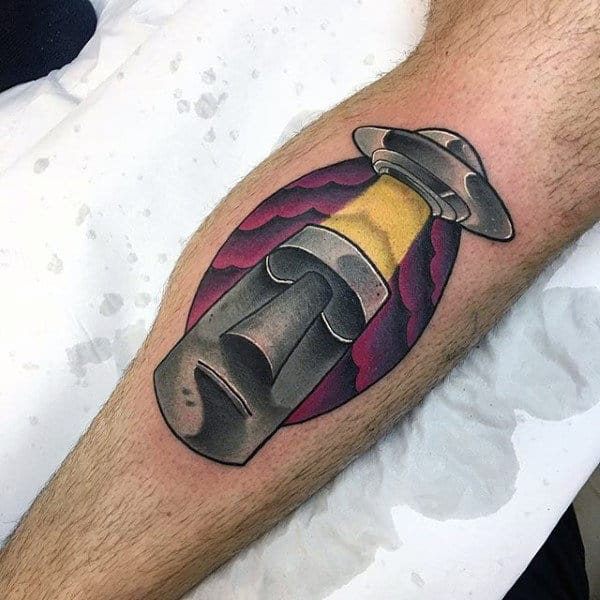 Alien Spacecraft With Stone Monument Mens Leg Calf Tattoo