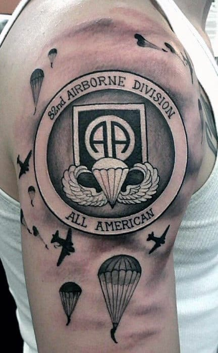 All American Airborne Mens Upper Arm Tattoo Designs