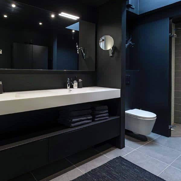 All Black Bathroom With Modern Design