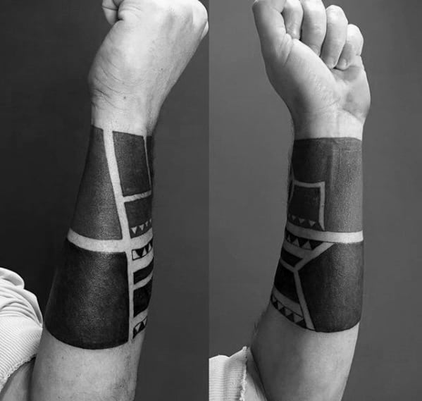 All Black Forearm Band Tattoo Designs For Men