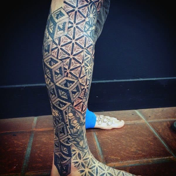 All Black Sacred Geometry Tattoos For Guys On Legs